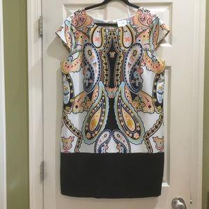 J. Taylor Large Paisley Cap Sleeve Dress Size 16